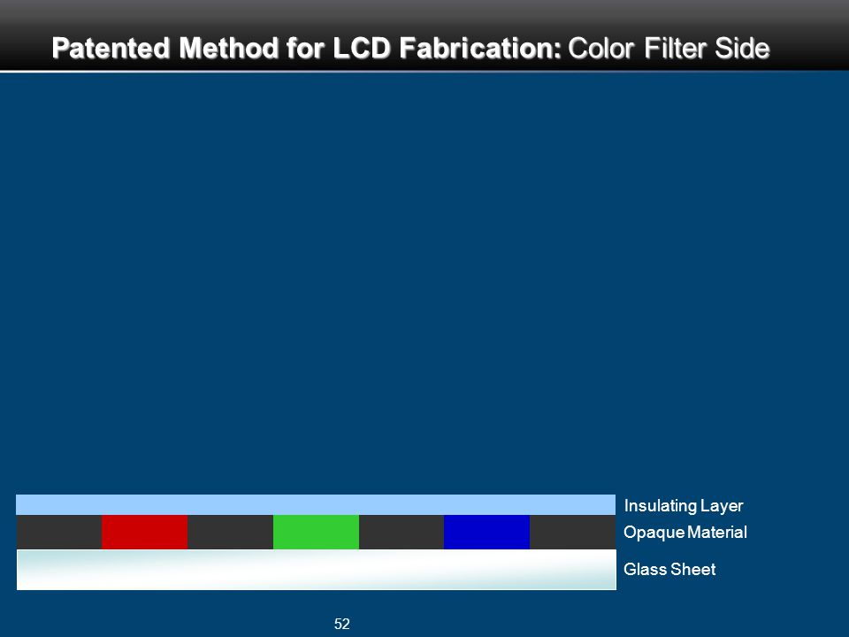 52 Glass Sheet Opaque Material Insulating Layer Patented Method for LCD Fabrication: Color Filter Side