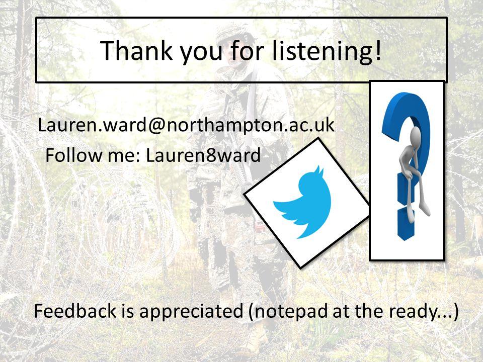 Thank you for listening! Follow me: Lauren8ward Lauren.ward@northampton.ac.uk Feedback is appreciated (notepad at the ready...)