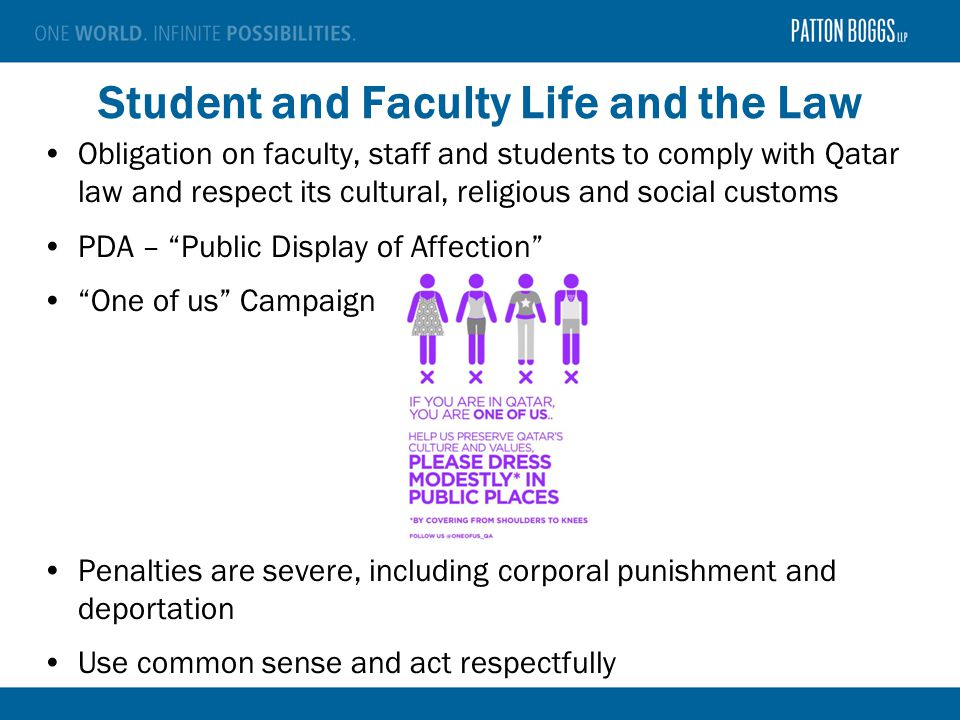 Student and Faculty Life and the Law Obligation on faculty, staff and students to comply with Qatar law and respect its cultural, religious and social