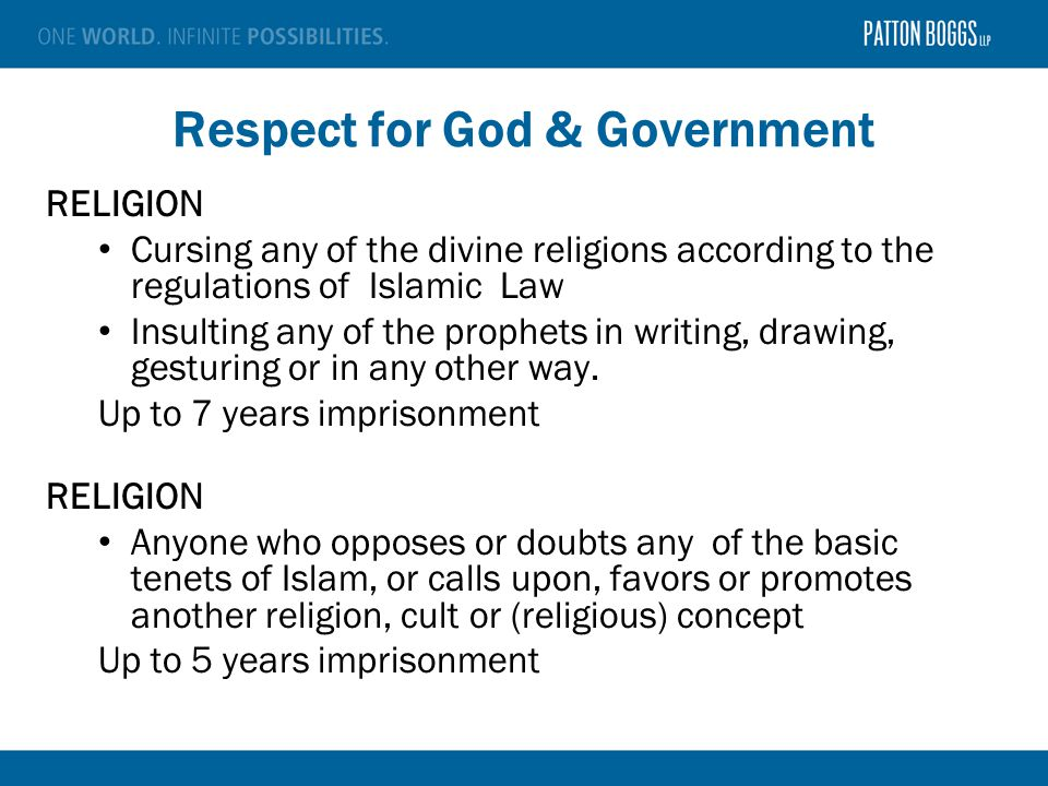 Respect for God & Government RELIGION Cursing any of the divine religions according to the regulations of Islamic Law Insulting any of the prophets in writing, drawing, gesturing or in any other way.