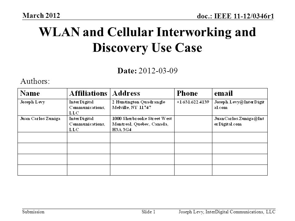 Submission doc.: IEEE 11-12/0346r1 March 2012 Joseph Levy, InterDigital Communications, LLCSlide 2 Abstract Overview of WLAN and Cellular Use Case Present ANDSF: the 3GPP Discovery Function for non-3GPP access Highlight some known issues with the current function Potential SG Actions