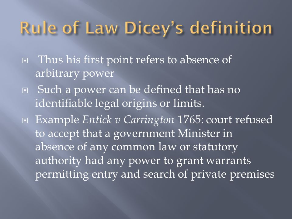  No person can be punished except for a breach of law.