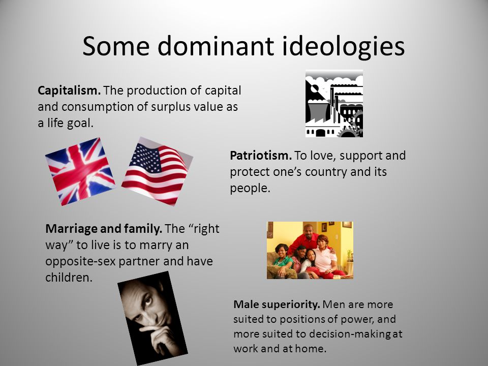 """Some dominant ideologies Patriotism. To love, support and protect one's country and its people. Marriage and family. The """"right way"""" to live is to mar"""