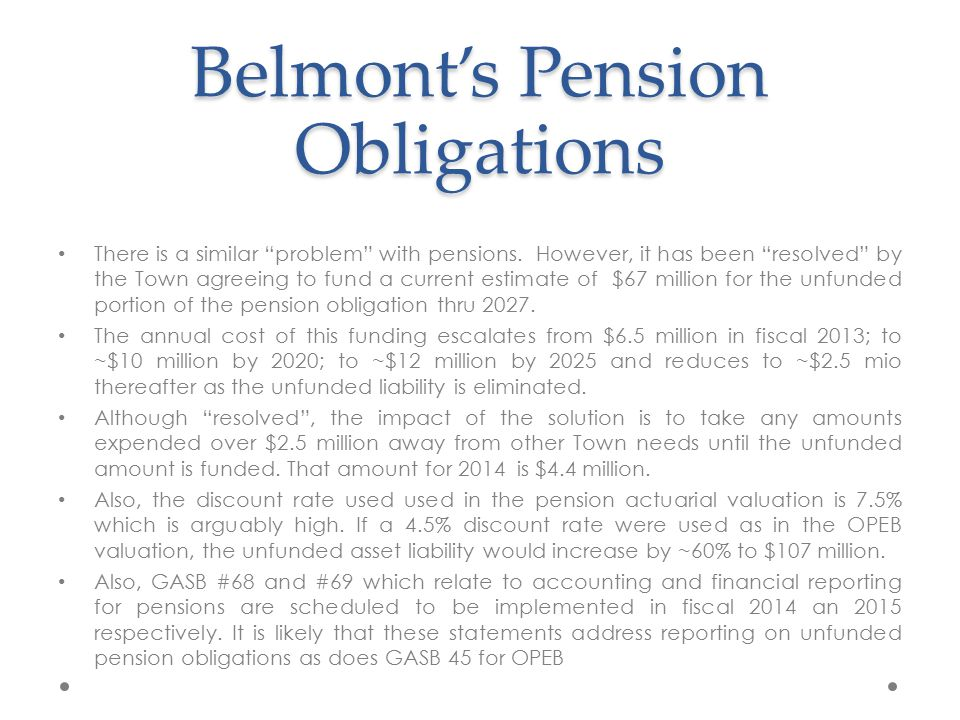 Belmont's Pension Obligations There is a similar problem with pensions.
