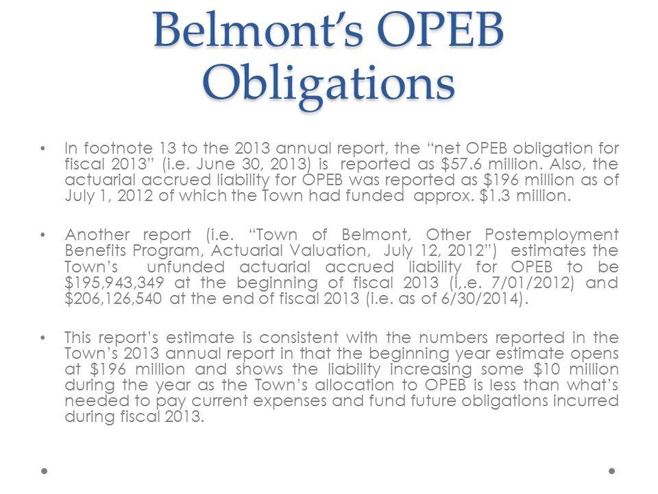 Belmont's OPEB Obligation