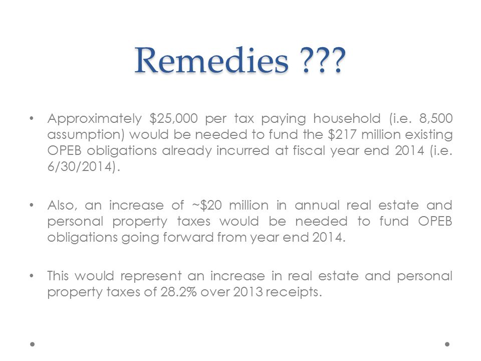 Remedies . Approximately $25,000 per tax paying household (i.e.