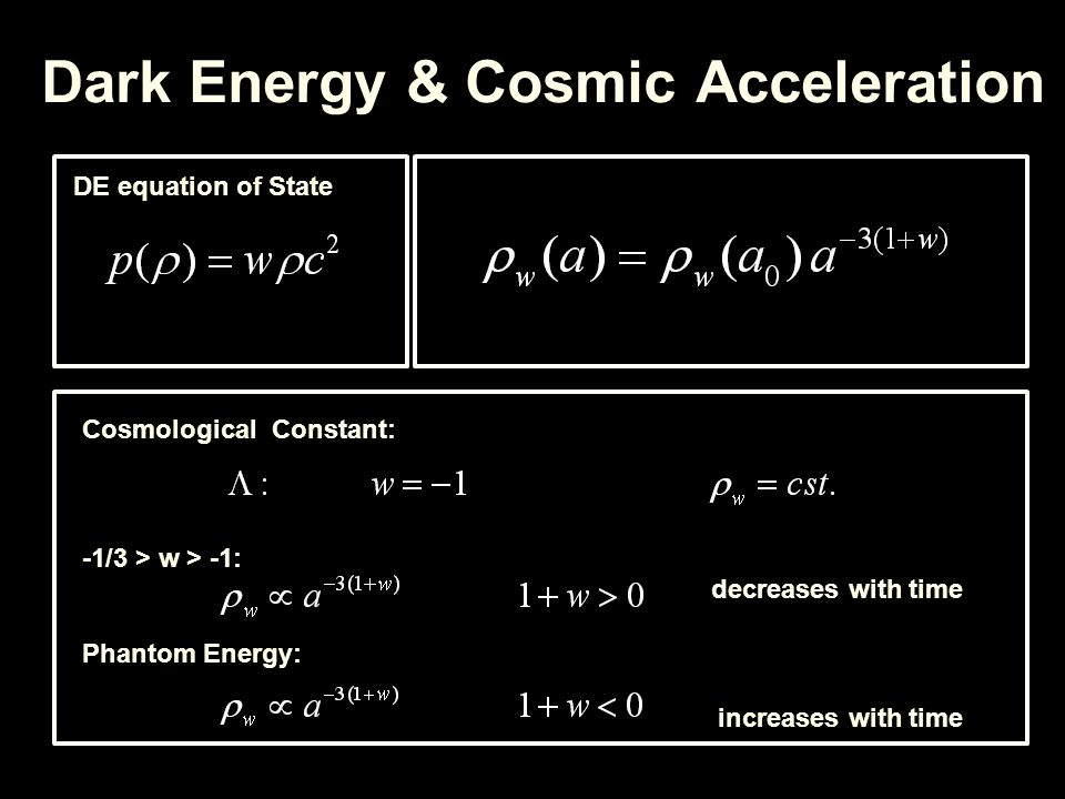 Dark Energy & Cosmic Acceleration DE equation of State Cosmological Constant: -1/3 > w > -1: decreases with time Phantom Energy: increases with time
