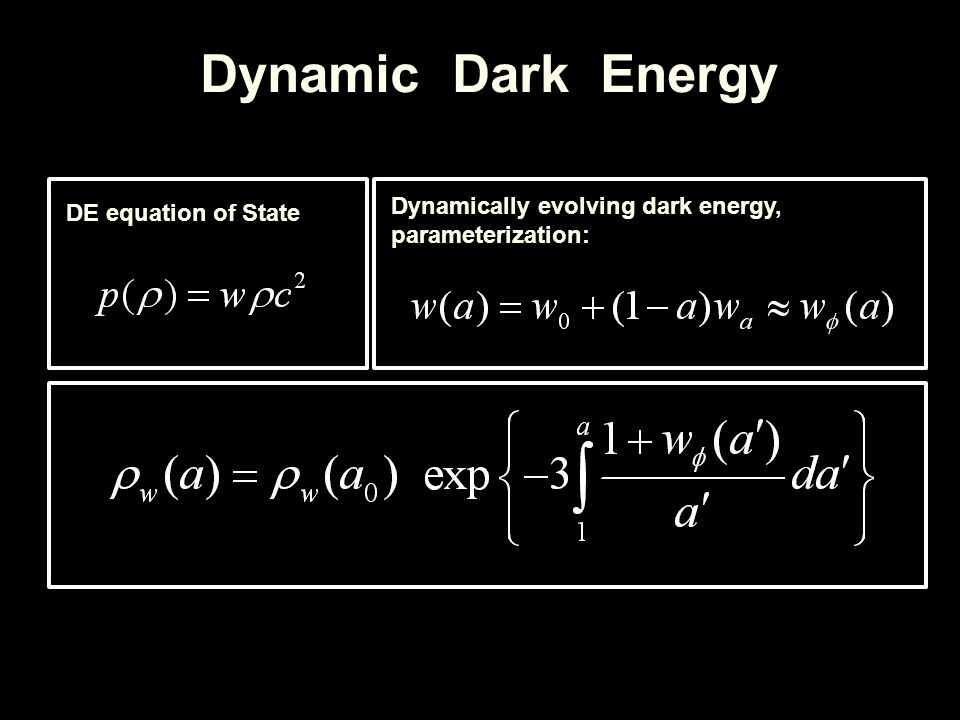 Dynamic Dark Energy DE equation of State Dynamically evolving dark energy, parameterization: