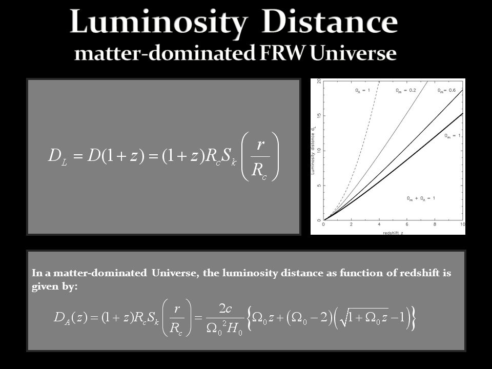In a matter-dominated Universe, the luminosity distance as function of redshift is given by: