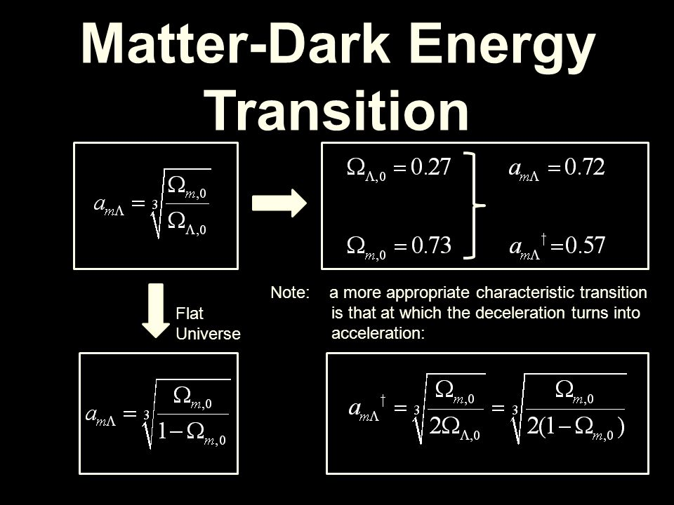 Matter-Dark Energy Transition Flat Universe Note: a more appropriate characteristic transition is that at which the deceleration turns into accelerati