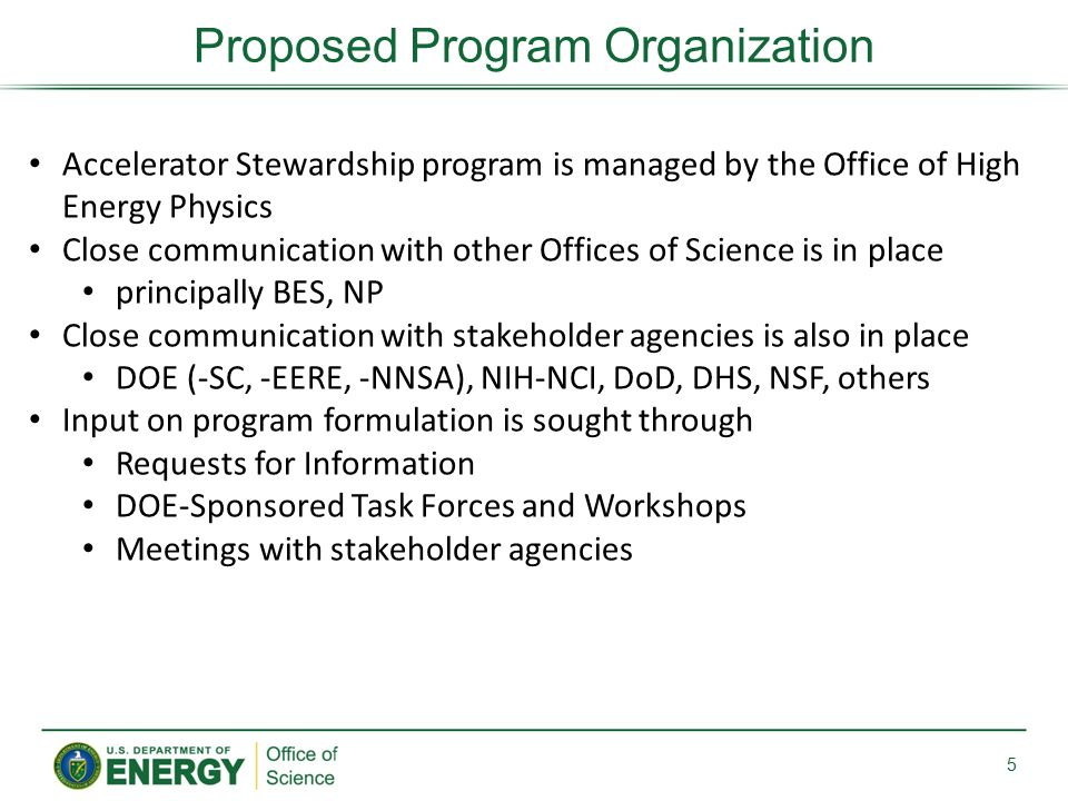 Proposed Program Organization 5 Accelerator Stewardship program is managed by the Office of High Energy Physics Close communication with other Offices of Science is in place principally BES, NP Close communication with stakeholder agencies is also in place DOE (-SC, -EERE, -NNSA), NIH-NCI, DoD, DHS, NSF, others Input on program formulation is sought through Requests for Information DOE-Sponsored Task Forces and Workshops Meetings with stakeholder agencies