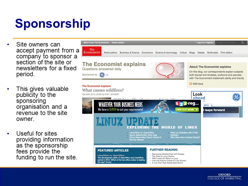 Sponsorship Site owners can accept payment from a company to sponsor a section of the site or newsletters for a fixed period.