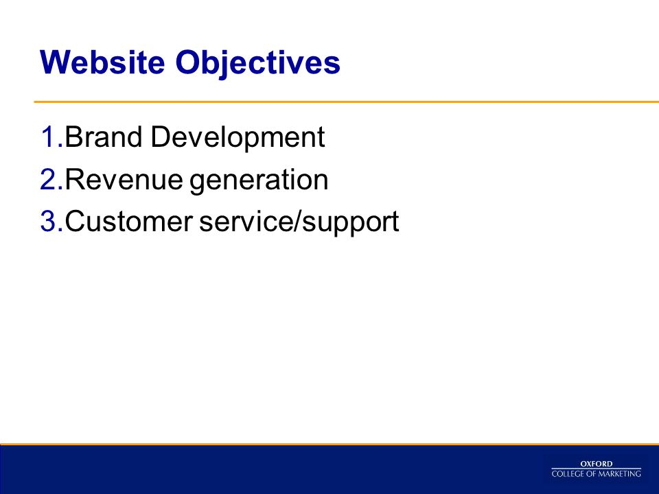 Website Objectives 1.Brand Development 2.Revenue generation 3.Customer service/support