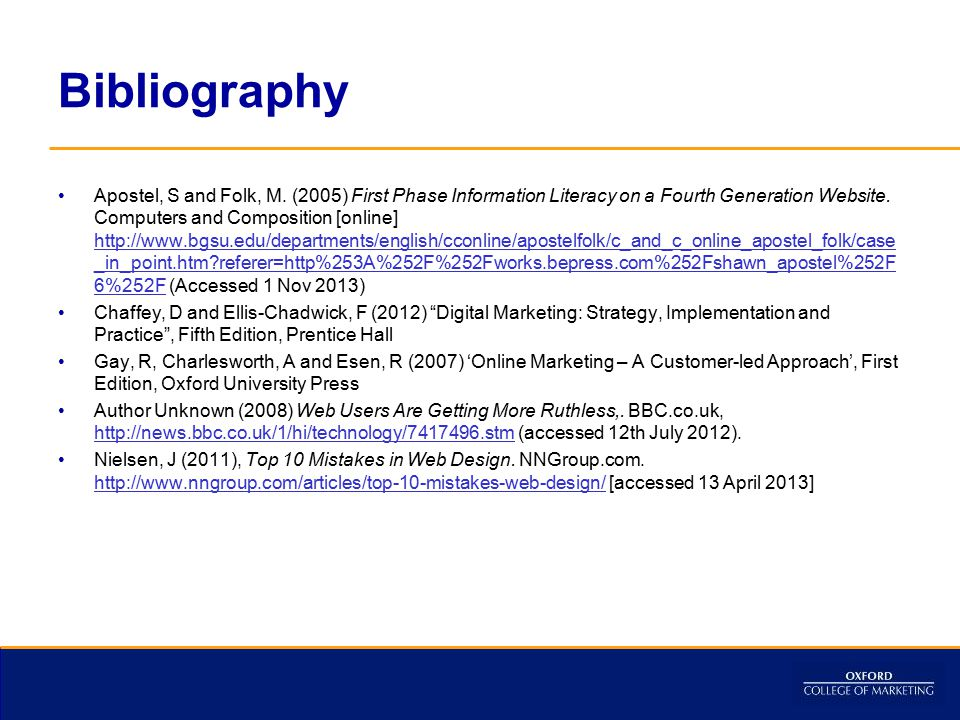 Bibliography Apostel, S and Folk, M.
