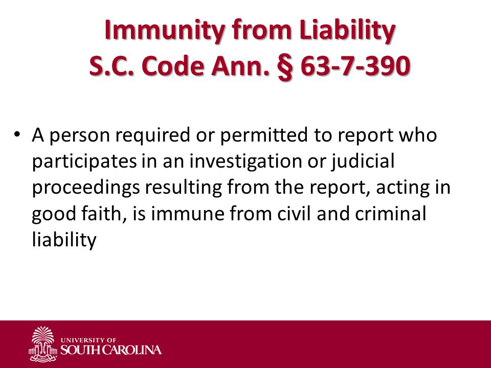 Immunity from Liability S.C. Code Ann. § 63-7-390 A person required or permitted to report who participates in an investigation or judicial proceeding
