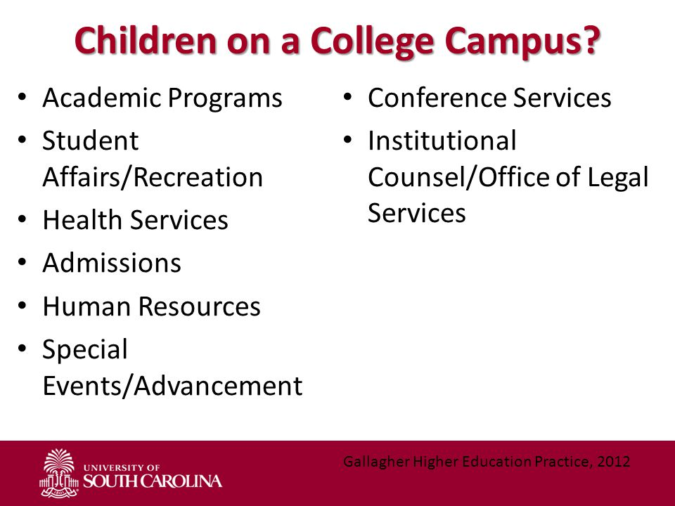 Children on a College Campus? Academic Programs Student Affairs/Recreation Health Services Admissions Human Resources Special Events/Advancement Confe