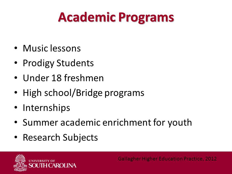 Academic Programs Music lessons Prodigy Students Under 18 freshmen High school/Bridge programs Internships Summer academic enrichment for youth Resear