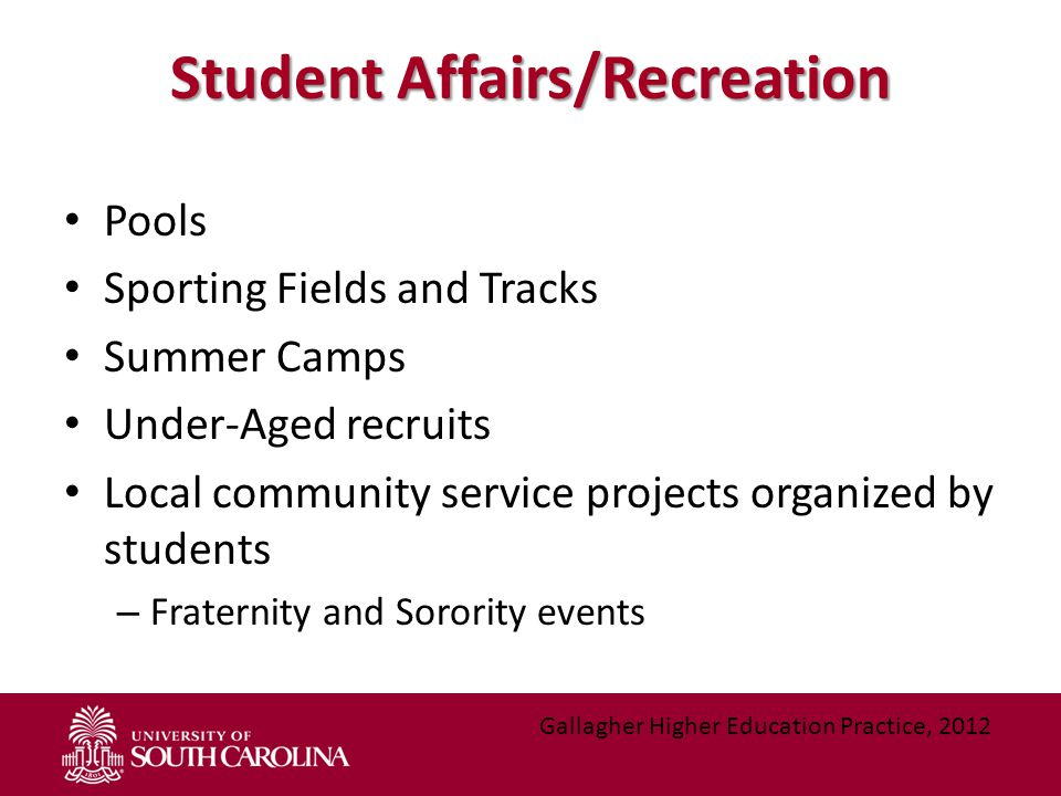 Student Affairs/Recreation Pools Sporting Fields and Tracks Summer Camps Under-Aged recruits Local community service projects organized by students –