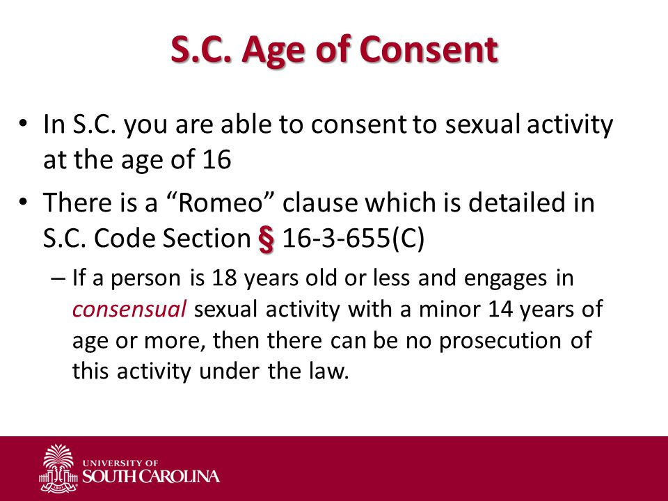 S.C. Age of Consent In S.C.