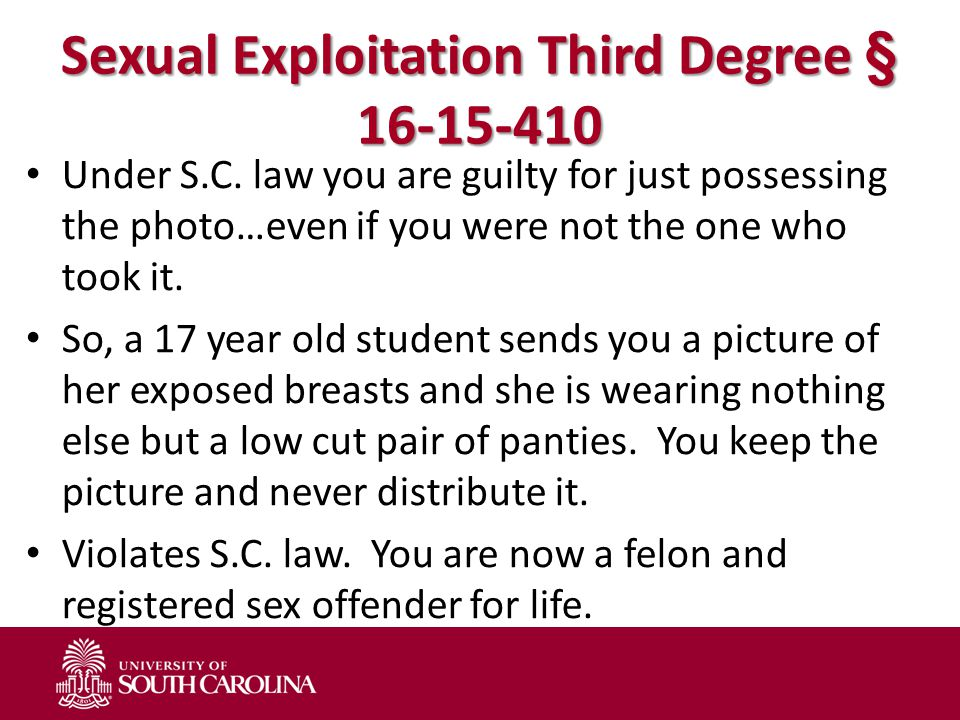 Sexual Exploitation Third Degree § 16-15-410 Under S.C.
