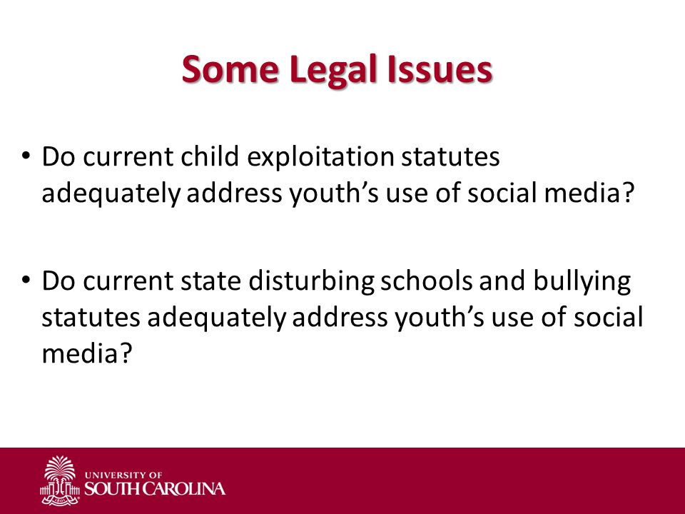 Some Legal Issues Do current child exploitation statutes adequately address youth's use of social media? Do current state disturbing schools and bully