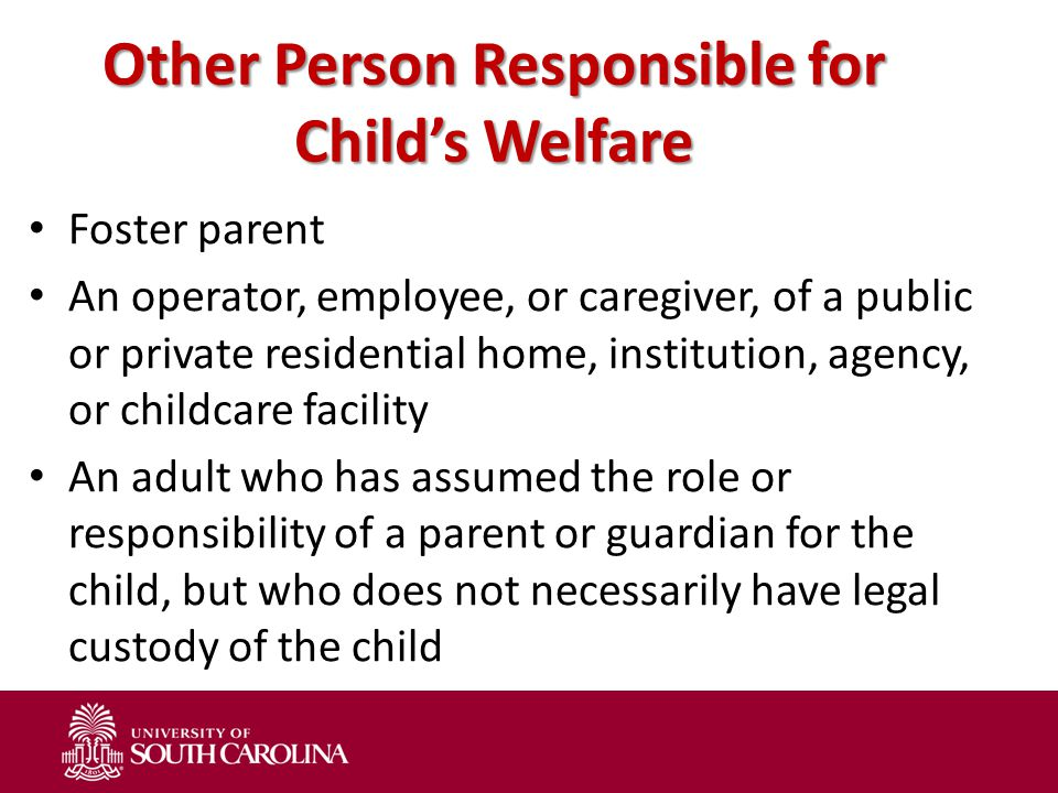 Other Person Responsible for Child's Welfare Foster parent An operator, employee, or caregiver, of a public or private residential home, institution,