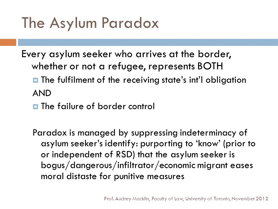 The Asylum Paradox Prof. Audrey Macklin, Faculty of Law, University of Toronto, November 2012 Every asylum seeker who arrives at the border, whether o