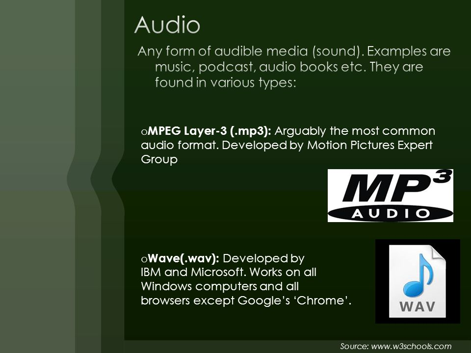 o MPEG Layer-3 (.mp3): Arguably the most common audio format.