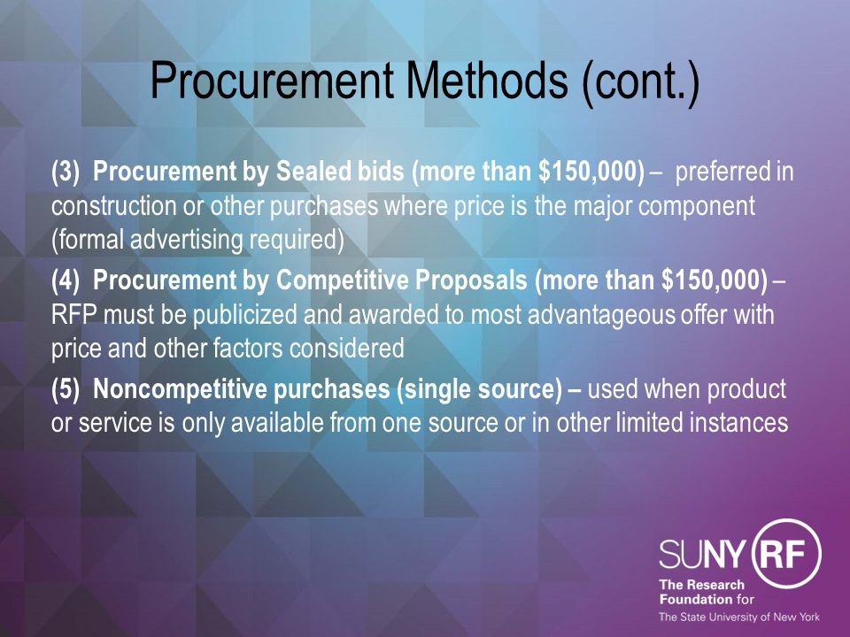 Procurement Standards (cont.) Other changes of interest include:  Listing of detailed affirmative action steps that must be taken to assure that MWBEs and labor surplus firms are used when possible  Cost or price analysis required for all procurements above the simplified acquisition threshold ($150k)  Negotiation of profit required for each contract over $150k in which there is no competition (single source procurements)  Must maintain records sufficient to detail the history of the procurement (rationale for the method of the procurement, selection of contractor type, reasons why contractors selected and basis for the contract price)