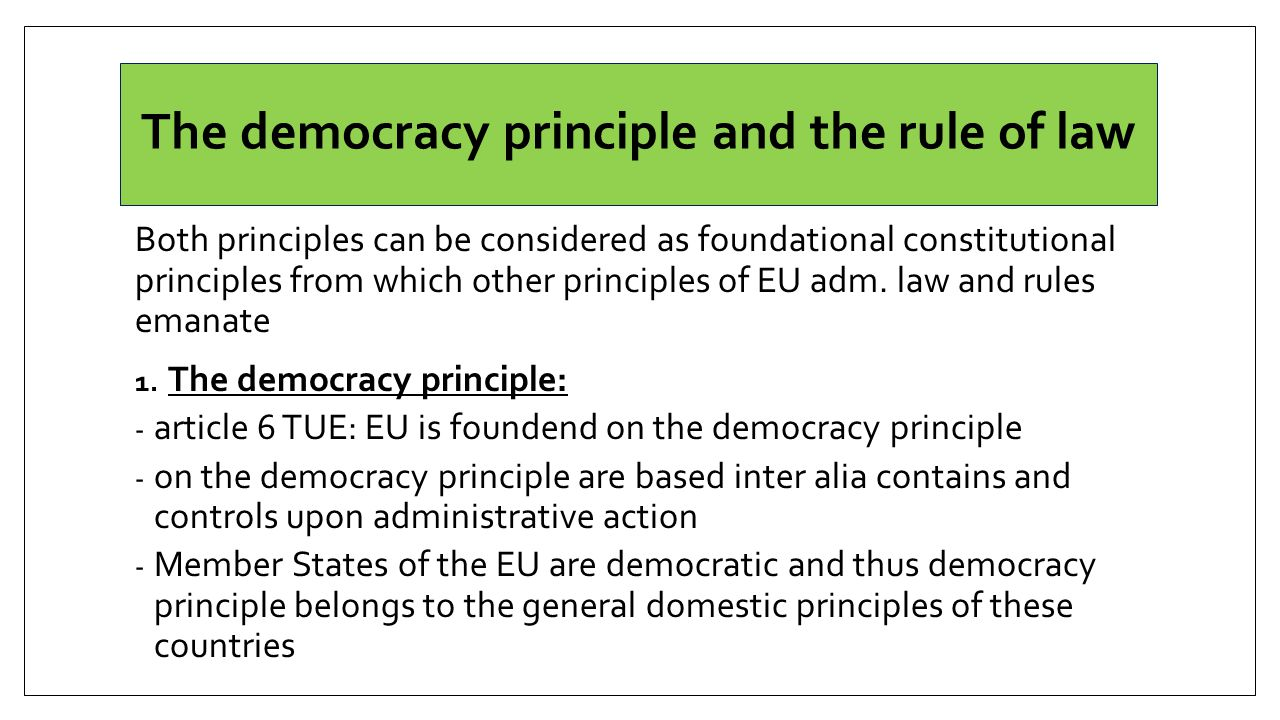 The democracy principle and the rule of law Both principles can be considered as foundational constitutional principles from which other principles of EU adm.