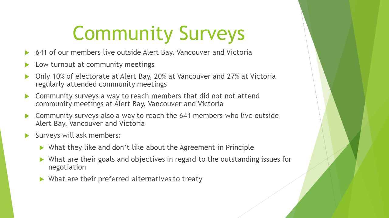 Community Surveys  641 of our members live outside Alert Bay, Vancouver and Victoria  Low turnout at community meetings  Only 10% of electorate at