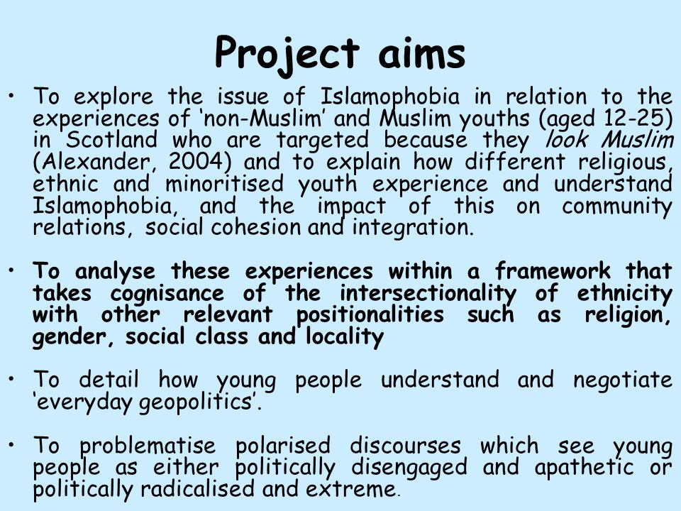 Questions we are asking How does the urban, suburban or rural context of young people's everyday lives shape their experiences, understandings and responses to Islamophobia.
