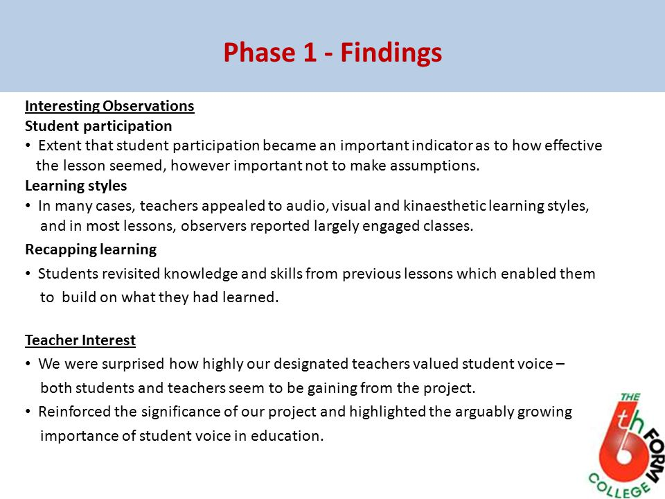 Phase 1 - Findings Interesting Observations Student participation Extent that student participation became an important indicator as to how effective the lesson seemed, however important not to make assumptions.