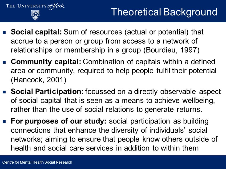 Theoretical Background Social capital: Sum of resources (actual or potential) that accrue to a person or group from access to a network of relationshi