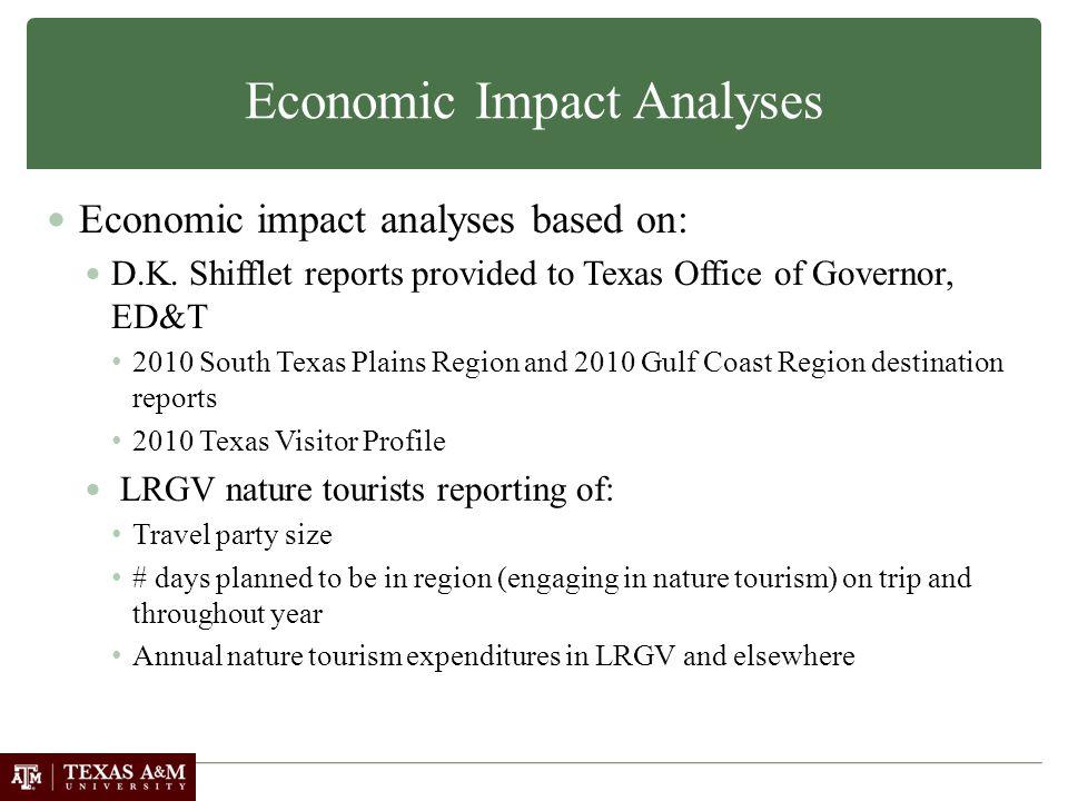 Economic Impact Analyses Economic impact analyses based on: D.K.