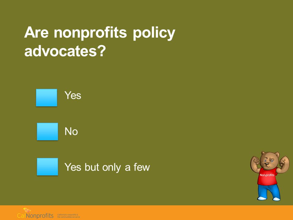 Are nonprofits policy advocates Yes No Yes but only a few