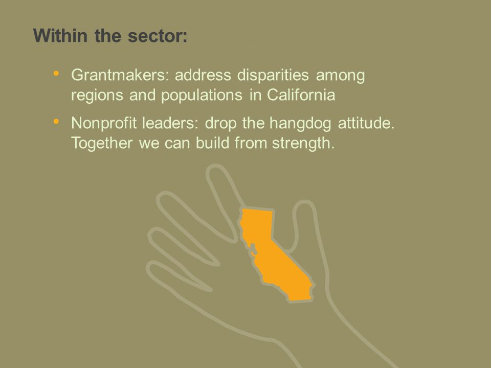 Within the sector: Grantmakers: address disparities among regions and populations in California Nonprofit leaders: drop the hangdog attitude.