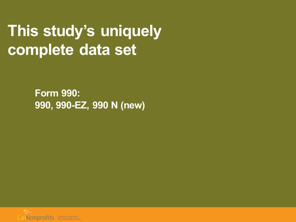 This study's uniquely complete data set Form 990: 990, 990-EZ, 990 N (new) 50 data fields available Keypunched additional 250 fields Combined with NCCS & census data