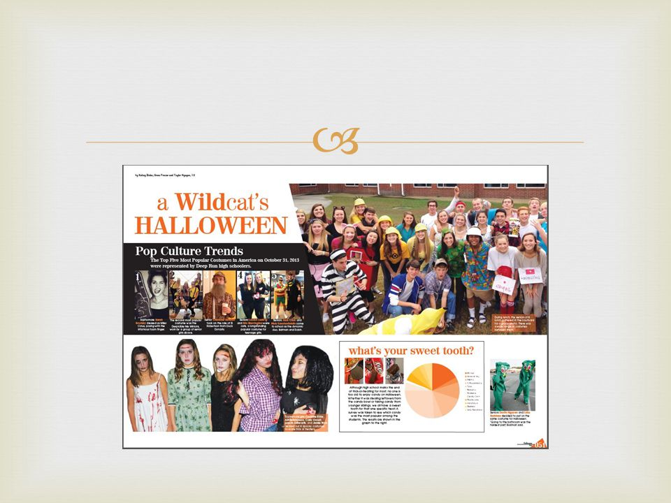   I liked working on this spread because it was comical to feature everyone dressed up in Halloween costumes.
