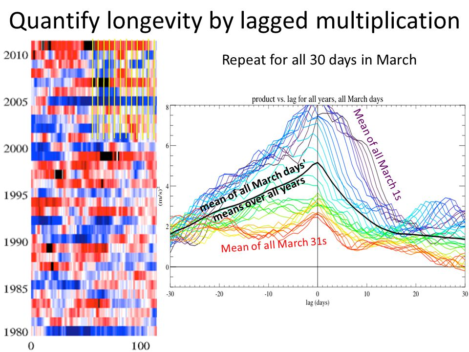 Quantify longevity by lagged multiplication Mean of all March 1s mean of all March days means over all years Repeat for all 30 days in March Mean of all March 31s
