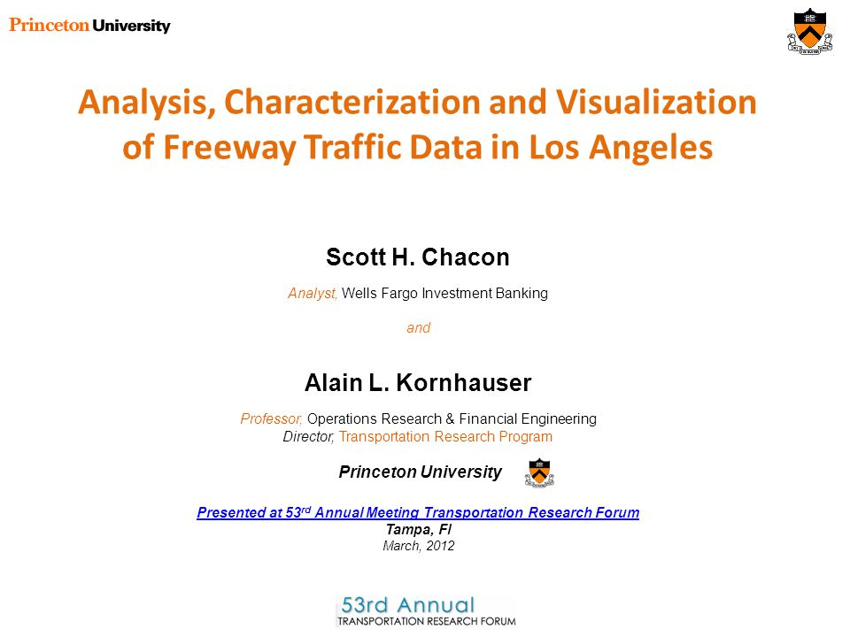 Analysis, Characterization and Visualization of Freeway Traffic Data in Los Angeles Alain L.