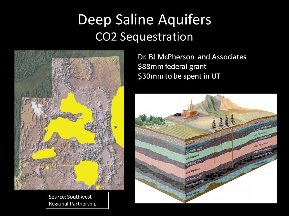 Deep Saline Aquifers CO2 Sequestration Source: Southwest Regional Partnership * * Dr.