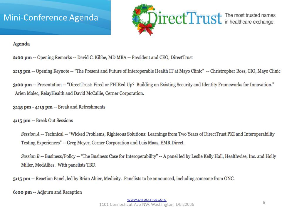 www.DirectTrust.org 1101 Connecticut Ave NW, Washington, DC 20036 Fully Accredited 9