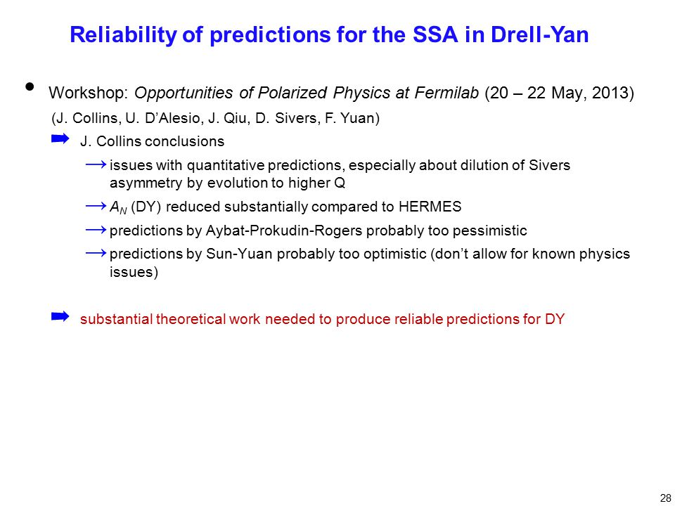 28 Reliability of predictions for the SSA in Drell-Yan Workshop: Opportunities of Polarized Physics at Fermilab (20 – 22 May, 2013) (J.