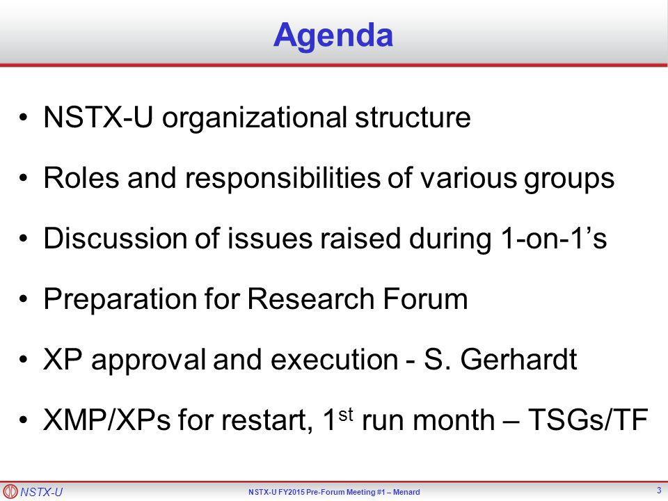 NSTX-U NSTX-U FY2015 Pre-Forum Meeting #1 – Menard NSTX-U Organization for FY2015 4