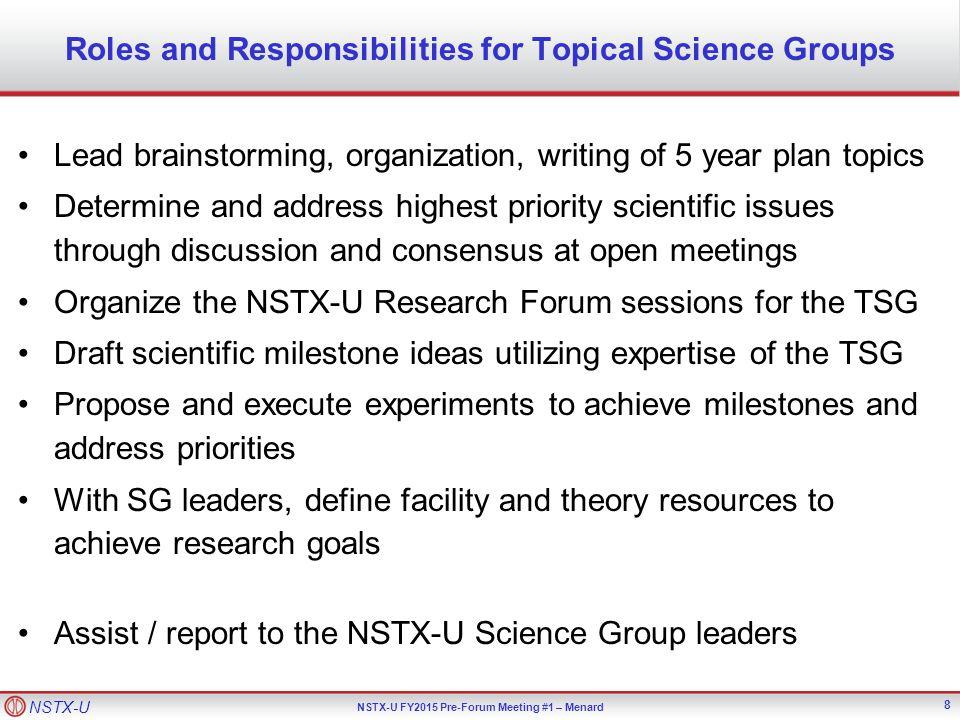 NSTX-U NSTX-U FY2015 Pre-Forum Meeting #1 – Menard Draft FY2015 Research Forum Agenda 19
