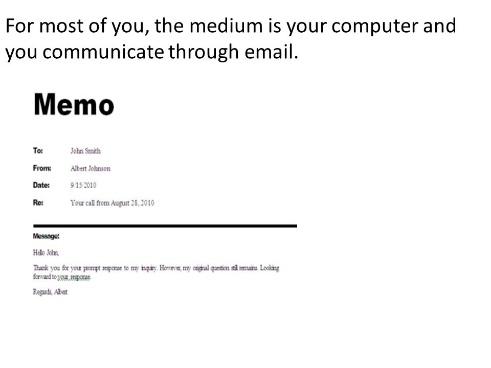 For most of you, the medium is your computer and you communicate through email.