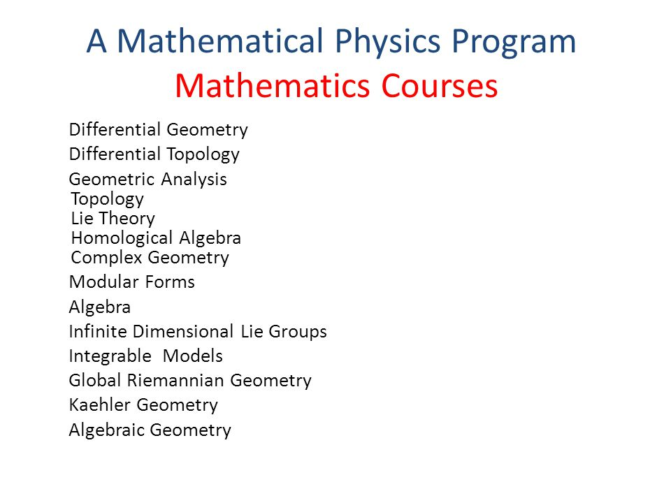 Physics Courses Quantum Field Theory String Theory Conformal Field Theory Supersymmetry and Unification General Relativity Phenomenology of Physics Beyond Standard Model