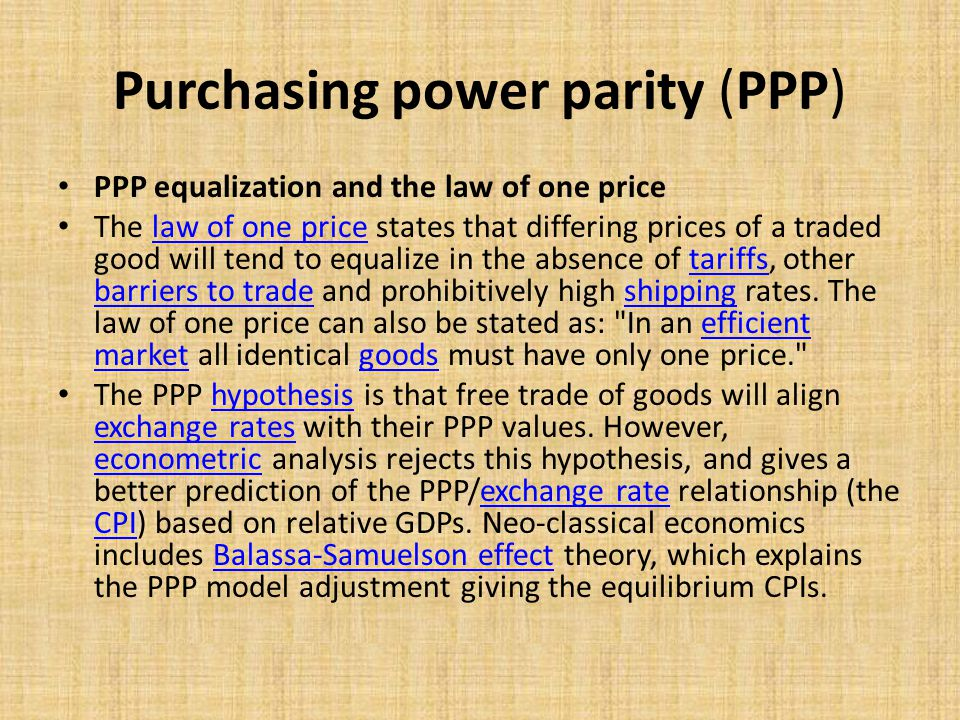 Рurchasing power parity (PPP) Big Mac Index Big Mac hamburgers, like this one from Japan, are similar worldwide.