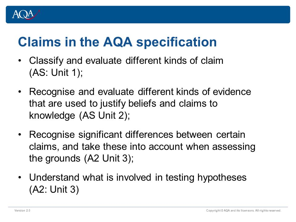 Claims in the AQA specification Version 2.0 Copyright © AQA and its licensors.